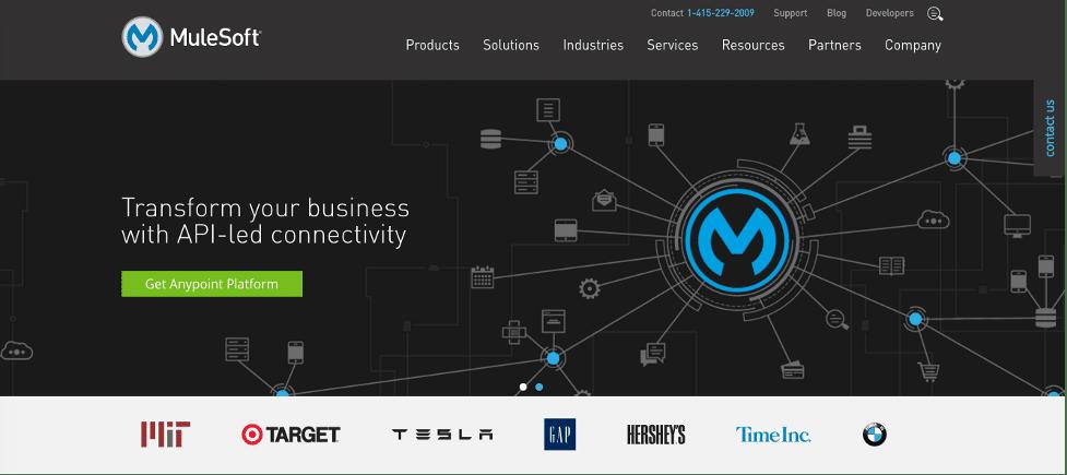Mulesoft website homepage screenshot