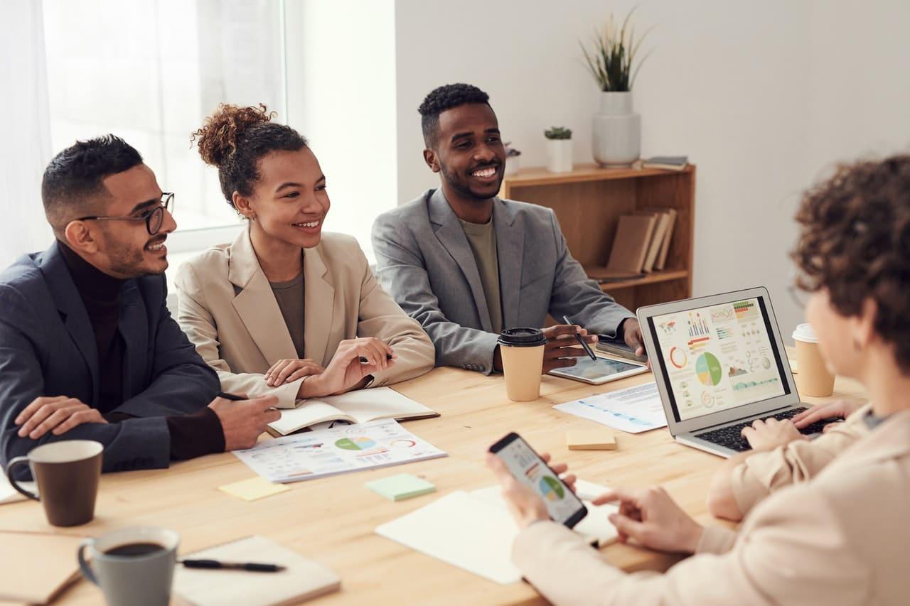 Team members reviewing marketing data